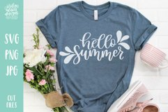 Hello Summer, Hand Lettered SVG Cut File Product Image 2