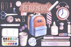 Back to school Watercolor Clipart Hand Painted Illustrations Product Image 3