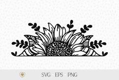 Half sunflower svg, Sunflower border svg, Split sunflower Product Image 1