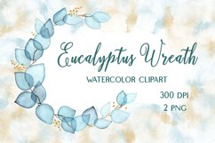 Watercolor Wreath Of Eucalyptus Blue Transparent Leaves Product Image 1