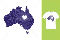 I Love Australia, Country Map Silhouette Product Image 3