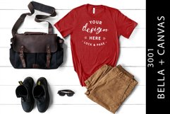 Masculine Canvas Red Bella Canvas 3001 T-Shirt Mockup Product Image 1