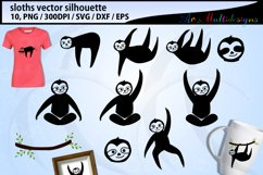 Sloth svg silhouette / hanging sloth silhouette / vector Product Image 1
