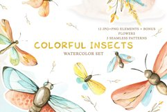 Watercolor Set Colorful Insects Product Image 1