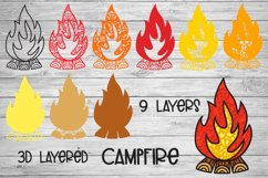 Campfire SVG   3D Layered SVG Bonfire   Camping SVG Product Image 2