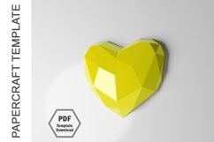 PDF Template of 3D Heart Papercraft Lowpoly Love Papercraft Product Image 3