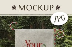 Burlap Yard Flag Mockup for Winter, Christmas Flag Mock-Up Product Image 3