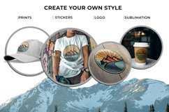 Outdoor Travel. Set of twelve colorful round logos. Product Image 7