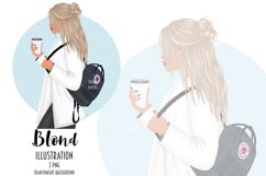 Coffee Girl Fashion Illustration, School Backpack Clipart Product Image 3