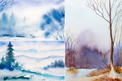 Winter Landscapes set#3. Watercolor. Product Image 3
