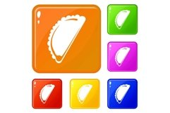 Cheburek icons set vector color Product Image 1