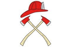 Fireman Helmet Crossed Fire Axe Drawing Product Image 1