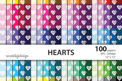 Hearts digital paper, heart color backgrounds Product Image 1