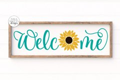 Welcome With Sunflower SVG   Farmhouse Sign   DXF and More Product Image 1