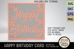 Floral Happy Birthday Card SVG - Birthday Card Cutting File Product Image 3