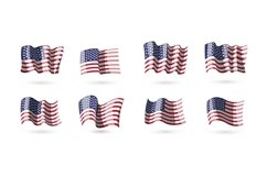 Collection of vector waving american flags for your design Product Image 1