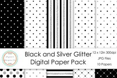 Black and Silver Glitter Digital Paper Product Image 1