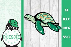 Layered Sea turtle multi layer mandala sea nautical 3d svg Product Image 1