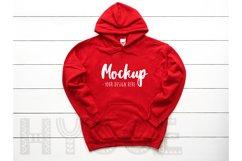 Gildan 18500 Mockup Christmas Red Hoodie Mockup Winter Mock Product Image 1