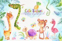 Cute safari animals watercolor clipart pack Africa animals Product Image 1