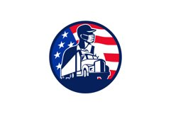 American Trucker Wearing Mask USA Flag Circle Mascot Product Image 1