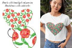 Floral Hearts Set. Valentine Sublimation PNG design Product Image 3