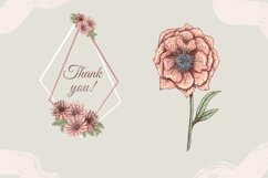 Pastel pink and blue flowers clipart, summer floral png Product Image 3