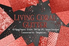 42 Living Coral Glowing Glitter Sequin Digital Papers Product Image 1
