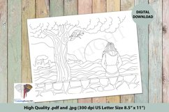 Girl Sitting Alone Near the River Adult Coloring Page Product Image 1