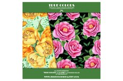 Yellow Red Rose Flower Story Digital Paper Pack Mint Black Product Image 3