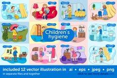 Baby hygiene vector illustration set Product Image 1