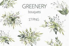 Watercolor Greenery Bouquets Clipart Product Image 1