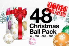 48 Christmas Ball Ornaments Pack 6 Colors Product Image 1