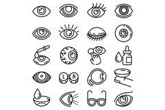 Eyeball icon set, outline style Product Image 1