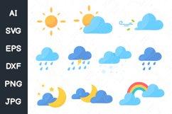Cute weather icon set. sun cloud rainbow svg file. Product Image 1