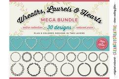 FLORAL MEGA BUNDLE 30 wreath, laurel, heart leaf frames SVG Product Image 1