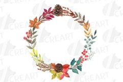 Fall leaves and flowers decor. Watercolor autumn wreath png Product Image 2