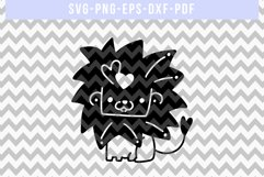 Cute Lion Papercut Template, Valentines Day SVG, Animal DXF Product Image 4