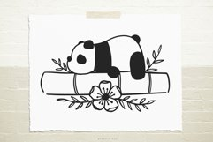 Panda on bamboo flowers svg cut file Product Image 1