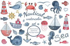 Sea dreams. Nautical watercolor set. Sea Clipart Collection Product Image 1