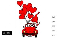 i love you SVG, Valentines heart truck Svg Gnomes Clipart, Product Image 2