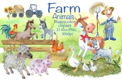 Farm animals watercolor Clipart. Product Image 2
