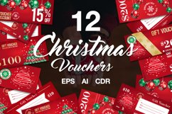 12 Christmas Voucher Template AI EPS CDR Product Image 1