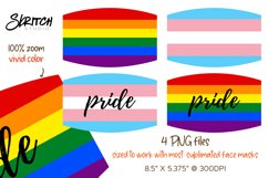 Sublimation LGBT Pride Rainbow Face Mask Set - 4 PNGs Product Image 2