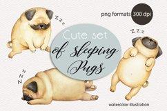 cute set of sleeping pugs watercolor illustration Product Image 1