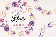 Lilac Frames Watercolor Floral Border Flowers Summer Product Image 1