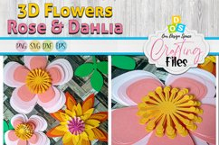 Rose & Dahlia 3D Paper Flowers SVG, DXF, EPS and PNG files Product Image 2