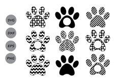 Paw Print SVG, Print Monogram, Dog Paw SVG, Die Cuts. Product Image 2