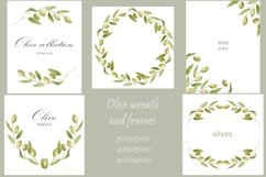 Watercolor green olives wreath and golden frames, wedding in Product Image 5