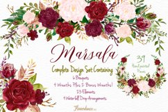 Watercolor Marsala and Blush Bundle for Weddings Product Image 1